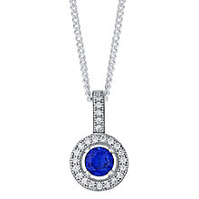 Sterling Silver Blue Cubic Zirconia Halo Pendant - Product number 4424085