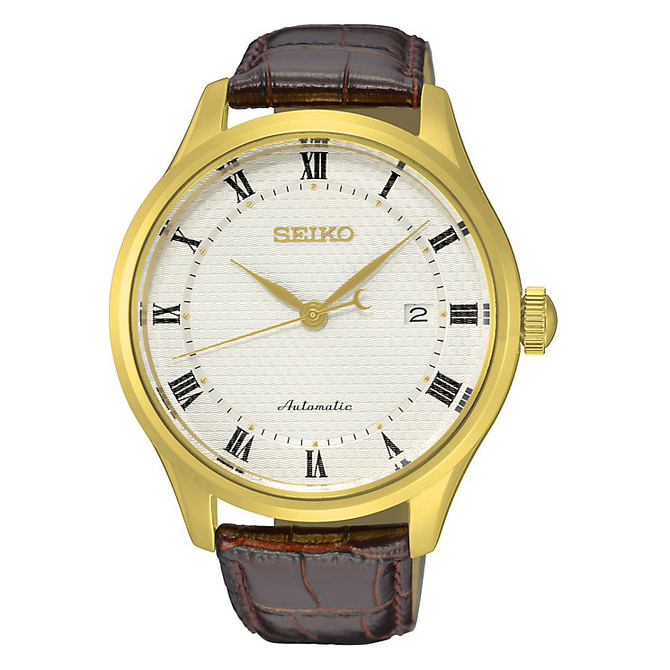 Seiko Men's Automatic Gold-Plated Brown Leather Strap Watch - Product number 4424239