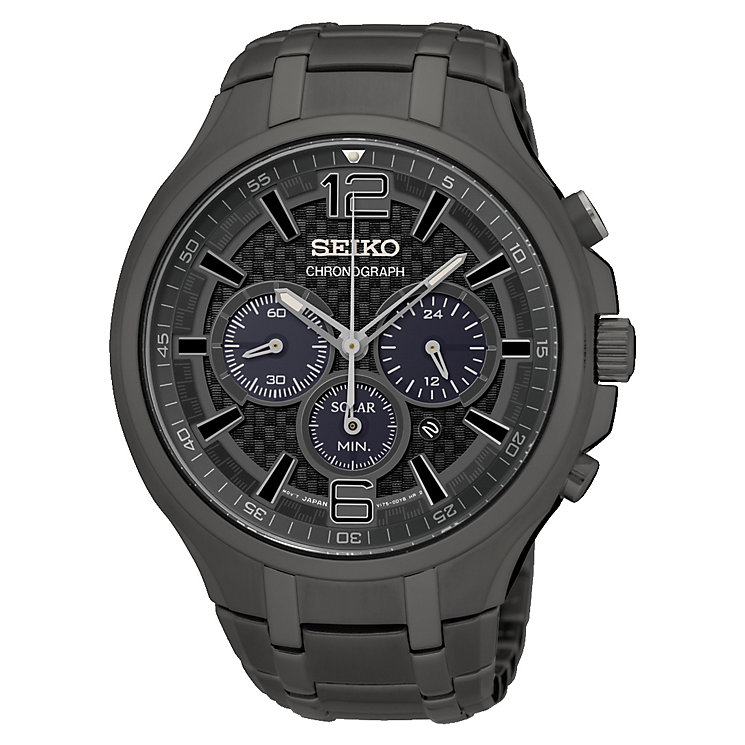 Seiko Solar Men's Grey Ion-Plated Bracelet Watch - Product number 4424255