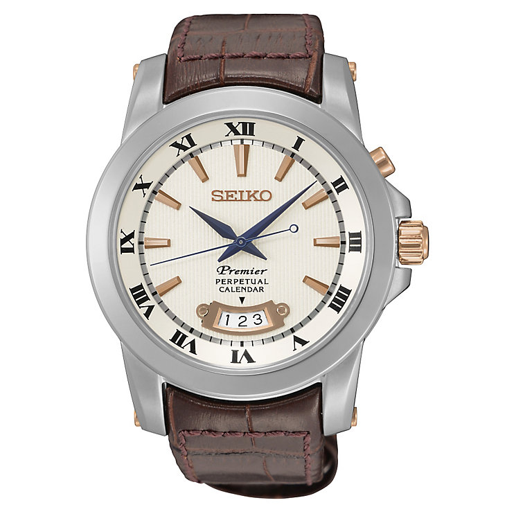 Seiko Premier Men's Perpetual Brown Leather Strap Watch - Product number 4424395