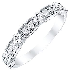 Ladies' 9ct White Gold 0.12 Carat Diamond Set Band - Product number 4424433