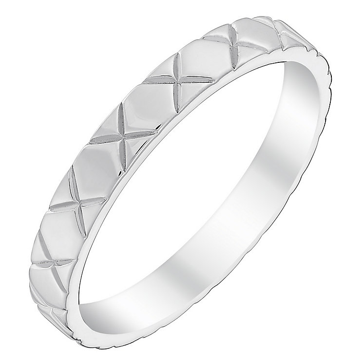 Ladies' 9ct White Gold Polished Kiss Band - Product number 4431030