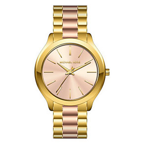 Michael Kors Gold Tone Pink Dial Bracelet Watch - Product number 4431804