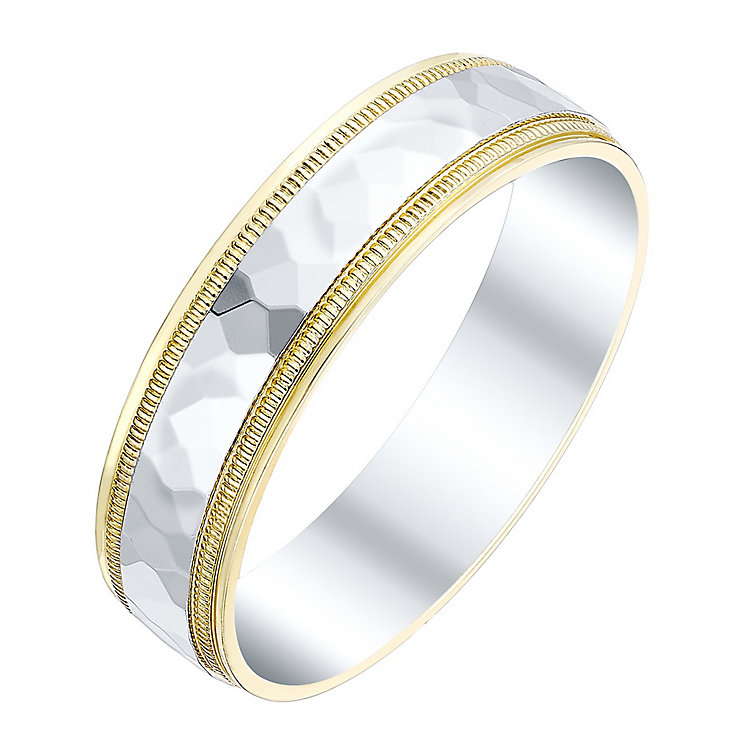 Men's 9ct Gold & White Gold Mirrorball Effect Band - Product number 4431812