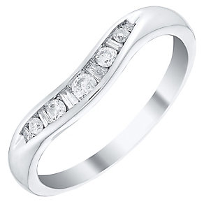 Ladies' 9ct White Gold 0.15 Carat Diamond Set Shaped Band - Product number 4433742