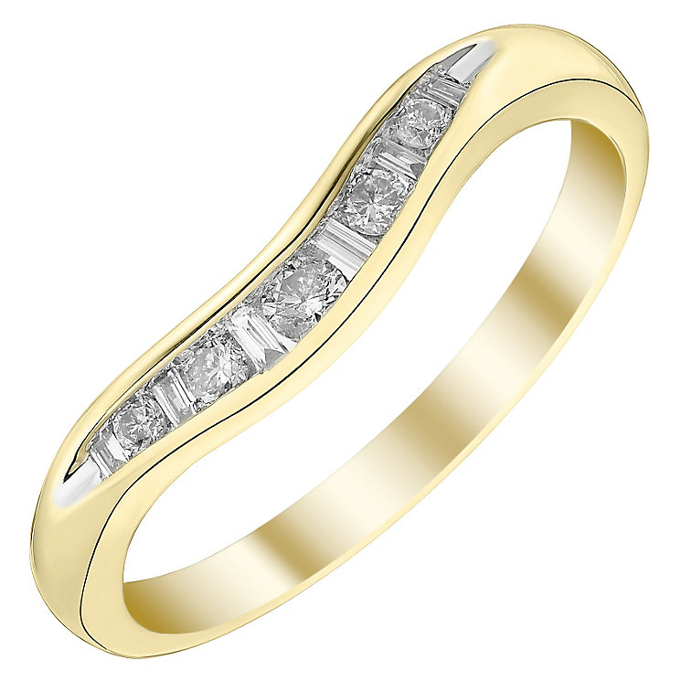 Ladies' 9ct Gold 0.15 Carat Diamond Set Shaped Band - Product number 4433874