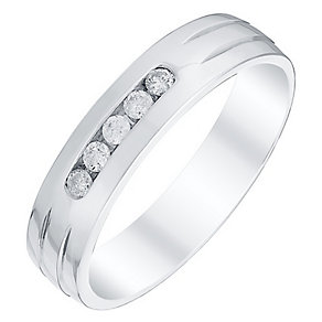 Men's 9ct White Gold 0.15 Carat Diamond Channel Set Band - Product number 4434080