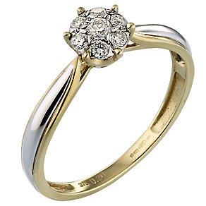 9ct Two Colour Gold Fifth Carat Diamond Cluster Ring - Product number 4435109
