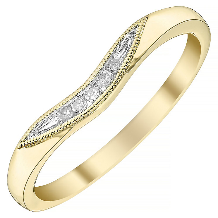 Ladies' 18ct Gold Diamond Set Shaped Band - Product number 4436571