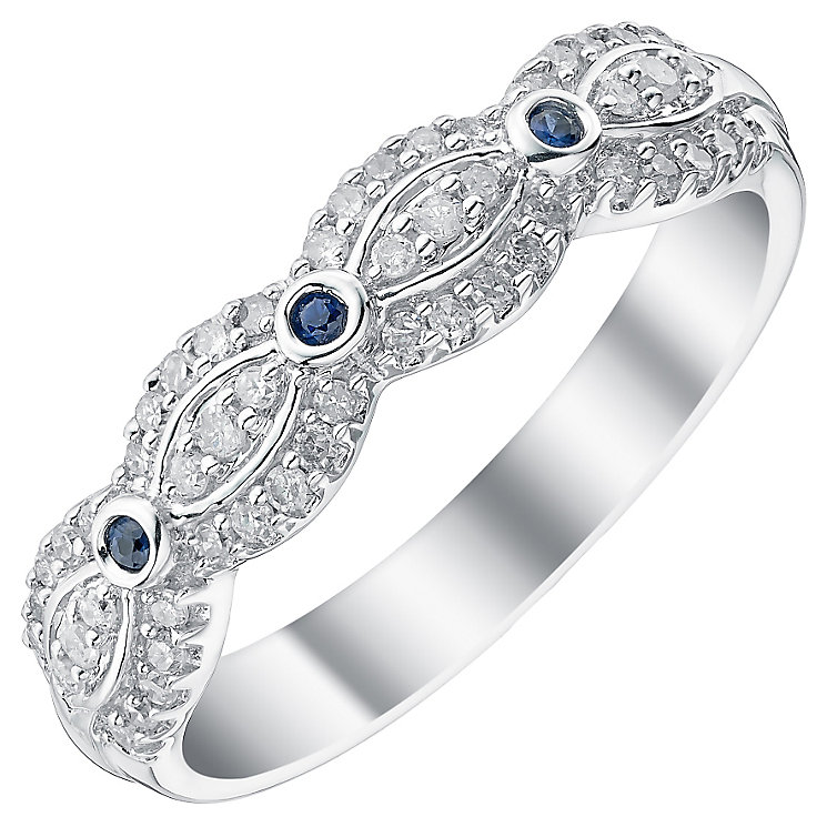 Ladies' 9ct White Gold 1/5 Carat Diamond & Sapphire Set Band - Product number 4436776