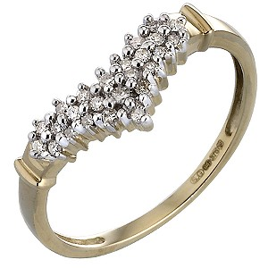 9ct Gold 0.15 Carat Diamond Wishbone Eternity Ring
