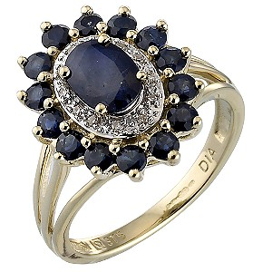Diamond and Sapphire Claw-set Cluster Ring