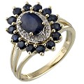 Diamond and Sapphire Claw-set Cluster Ring - Product number 4439910
