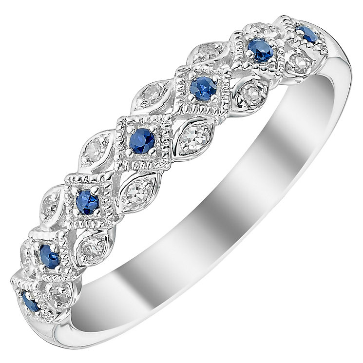 Ladies' 9ct White Gold Diamond & Sapphire Set Band - Product number 4446720