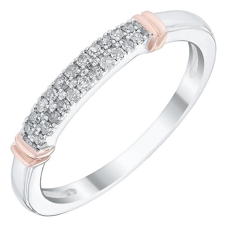 Ladies' 9ct White & Rose Gold 1/10 Carat Diamond Set Band - Product number 4446879