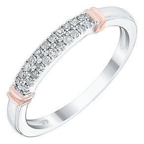 Ladies' 9ct White & Rose Gold 1/10 Carat Diamond Set Band - Product number 4446879