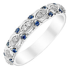 Ladies' 9ct White Gold Diamond Set Marquise Shape Band - Product number 4447026
