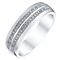Men's 9ct White Gold 1/10 Carat Diamond 2 Row Band - Product number 4447565