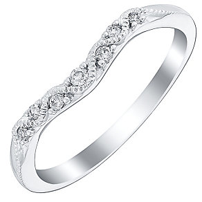 Ladies' 9ct White Gold Diamond Set Vintage Style Shaped Band - Product number 4447743