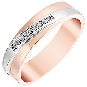 Men's 9ct White & Rose Gold Diamond Set Band - Product number 4448006