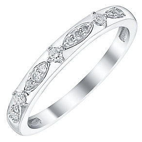 Ladies' 9ct White Gold 1/10 Carat Diamond Set Patterned Band - Product number 4448421