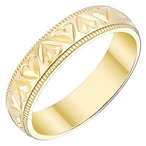 Ladies' 9ct Gold Heart Patterned Band - Product number 4450213