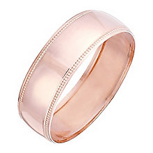 Men's 9ct Rose Gold Milgrain Edge Band - Product number 4451422