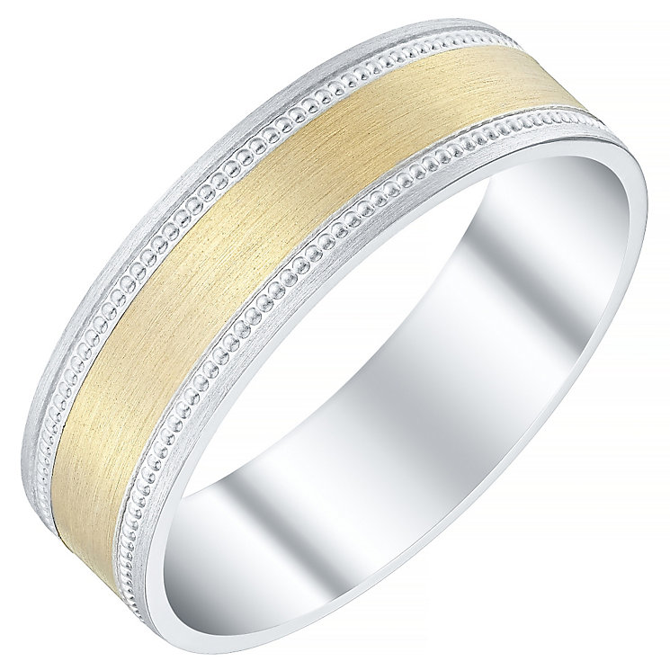 Men's Argentium Silver & 9ct Gold Milgrain Edge Flat Band - Product number 4452267