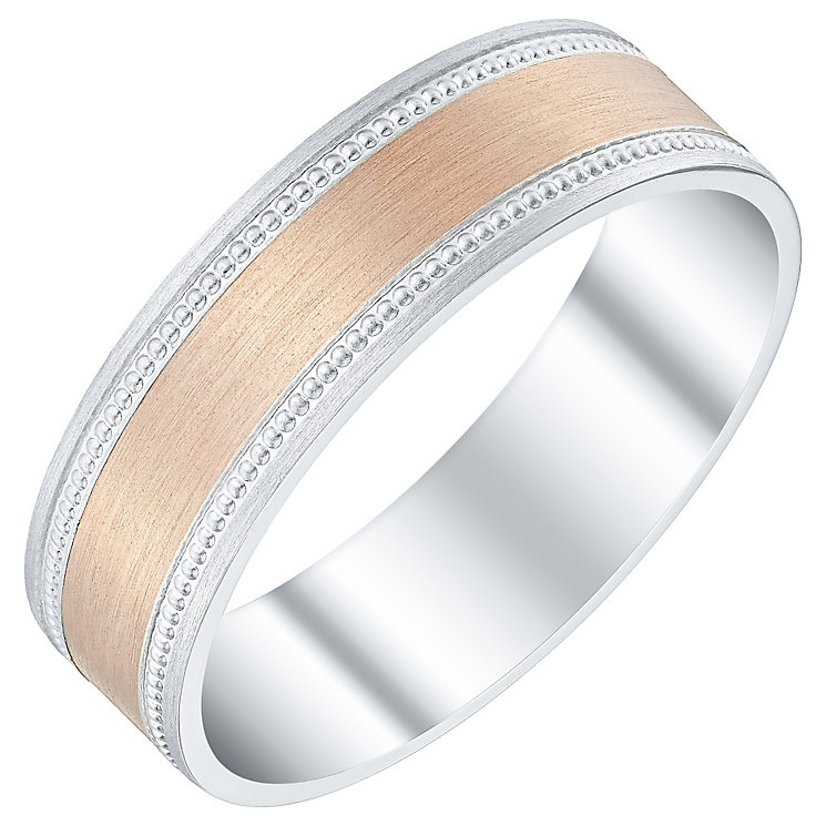 Men's Argentium Silver & 9ct Rose Gold Milgrain Edge Band - Product number 4453506