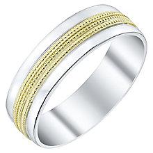 Men's Argentium Silver & 9ct Gold Milgrain Centre Court Band - Product number 4453808