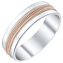 Men's Argentium Silver & 9ct Rose Gold Milgrain Court Band - Product number 4453972
