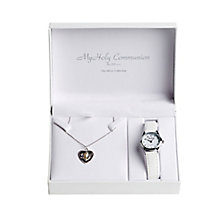 Cailin Silver Communion Heart Pendant & White Strap Watch - Product number 4457404
