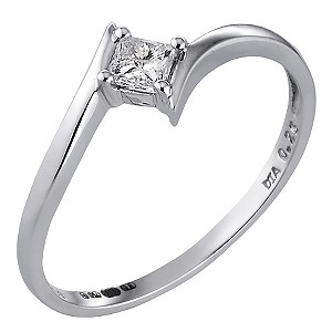 18ct White Gold Quarter Carat Princess Cut Diamond Ring
