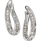 9ct white gold 15 point diamond hoop earrings - Product number 4458532