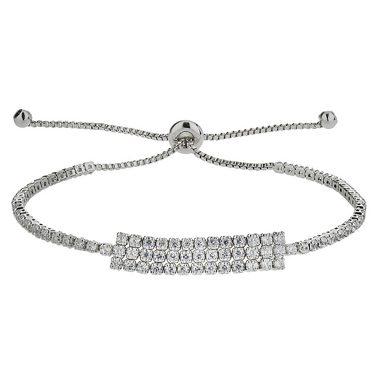 Mikey Silver Tone Stone Set Tennis Bolo Bracelet - Product number 4458877