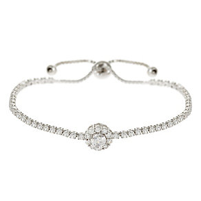Mikey Silver Tone Cubic Zirconia Set Daisy Bolo Bracelet - Product number 4459261