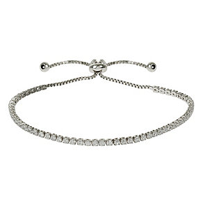 Mikey Silver Tone Crystal Chain Bolo Bracelet - Product number 4459288