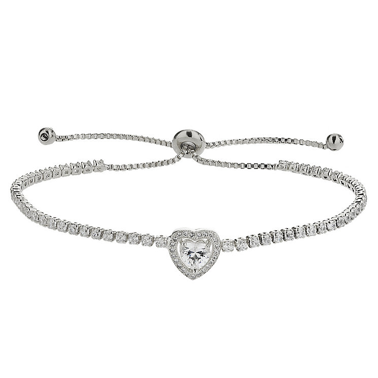 Mikey Silver Tone Cubic Zirconia Heart Adjustable Bracelet - Product number 4459296
