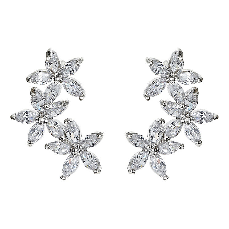 Mikey Silver Tone Crystal Fancy Flower Stud Earrings - Product number 4459547