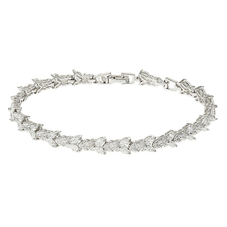 Mikey Silver Tone Crystal Set Leaf Tennis Bracelet - Product number 4459598