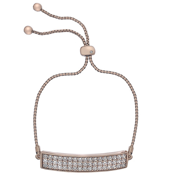 Hot Diamonds Rose Gold-Plated Cubic Zirconia Bolo Bracelet - Product number 4459806