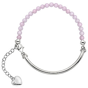 Hot Diamonds Sterling Silver Heart Charm Pink Ball Bracelet - Product number 4459989