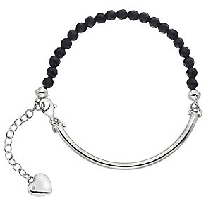 Hot Diamonds Sterling Silver Heart Charm Black Ball Bracelet - Product number 4460057