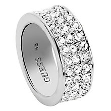 Guess Rhodium-Plated 3 Row Pave Stone Set Ring Size 54 - Product number 4460103