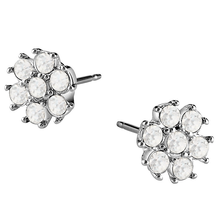 Guess Rhodium-Plated White Opal Flower Stud Earrings - Product number 4460286