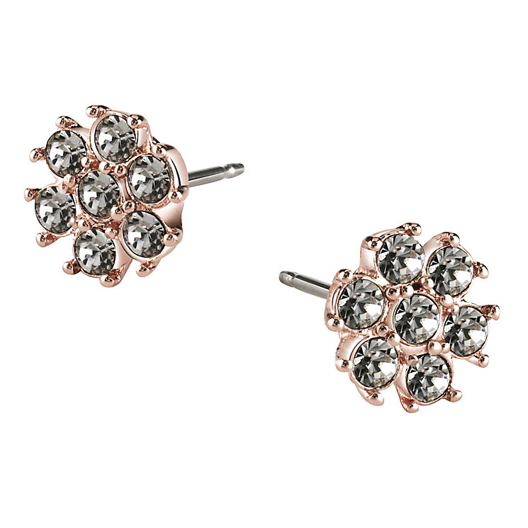 Guess Rose Gold-Plated Black Diamond Stone Set Stud Earrings - Product number 4460294