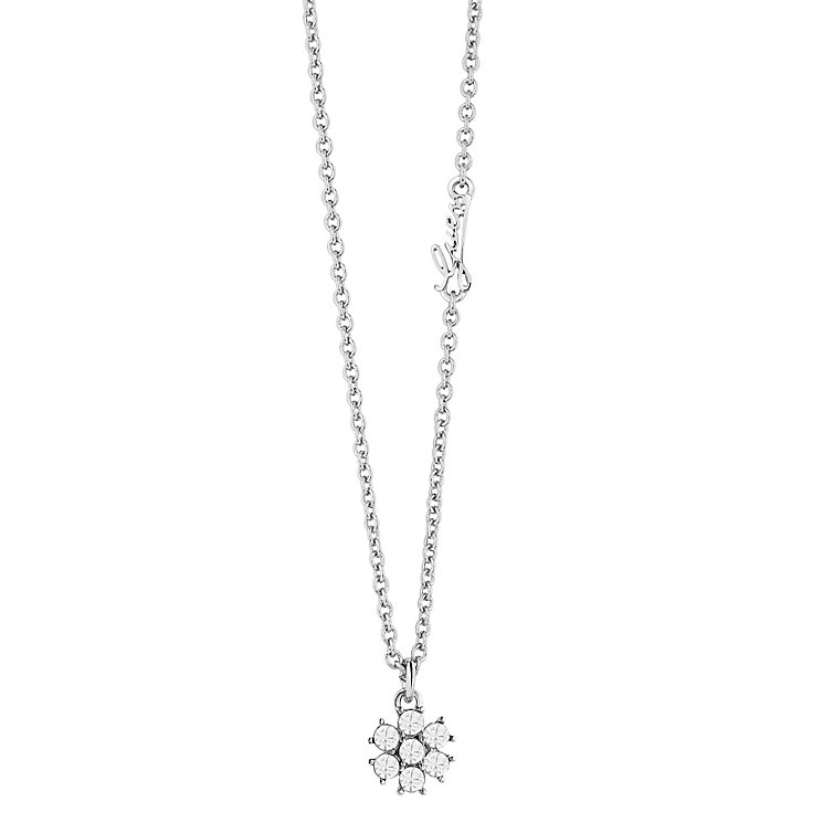 """Guess Rhodium-Plated White Opal Flower Pendant 16""""-18"""" - Product number 4460308"""