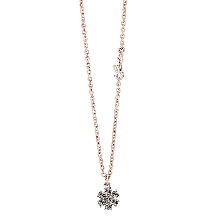 "Guess Rose Gold-Plated Black Diamond Flower Pendant 16""-18"" - Product number 4460316"