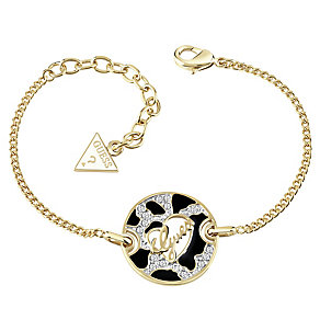 Guess Gold-Plated Animal Print & Logo Disc Bracelet - Product number 4460707