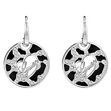 Guess Rhodium-Plated Animal Print & Logo Disc Drop Earrings - Product number 4460715